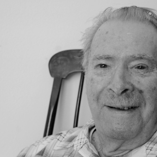 """Robert Flint. Born 1924, New York. Flint was drafted into WWII in the Navy, but somehow, he said, he always ended up working in the kitchens—he was in the mess hall during training and several stateside posts. When his unit finally shipped out of the U.S. to the Philippines, he was once again working in the kitchens to help feed his comrades. When he finished his service, he got a degree in art from the University of Illinois. """"When we were finally ready to go to war, my mom said to them, if you can't find anything better for him to than be in the kitchen, send him home!"""" """"It's a long grind from kindergarten through high school. If you go into the service, they'll teach you and you can go to school. You can learn a trade."""""""