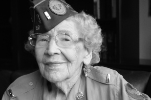 "Alma Geraldine Haller. Born 1919, New Mexico. Haller was one of the first waves of women who served during WWII in the Women's Army Corps, during which she was assigned to a secret mission delegated to the womens corps. She and her comrades lived in underground bunkers in Washington, D.C. and tracked aircraft that entered the D.C. radius. ""I always tried to do the very best at what I did. I love to see girls accomplish things. I would tell them, take advantage of every opportunity that is handed to them. So many things slip by you at that age."""
