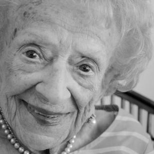 """Florence Katz. Born 1915, Ohio. Katz's family was the only Jewish family in the small town on Coshocton, Ohio. Her parents had immigrated to the U.S. from Russia and Latvia—her father, as a stowaway. Although she grew up during the Great Depression, she said her parents always found enough money for her and her two sisters' music lessons and books. The """"Weisblat Sisters"""" traveled the state playing violin, piano and flute and earned $15 per performance when Katz was a nine-year-old girl. """"You have to keep busy. You have to have a goal. It keeps your mind and body going, or else you're going to rust."""""""